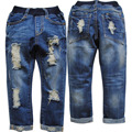 3930 soft denim hole boys jeans navy blue spring&autumn kids pants children's trousers 4-11 years fashion new