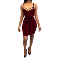 2017 Sexy Backless Strap stripe Bandage Keen-length Dress Women Polyester Sleeveless party dresses