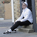 VIISHOW New Brand Dress Shirt Men Zip Shoulder Design Cotton Business Casual Shirt Long Sleeve Oversized White Shirt Men CCZ7363