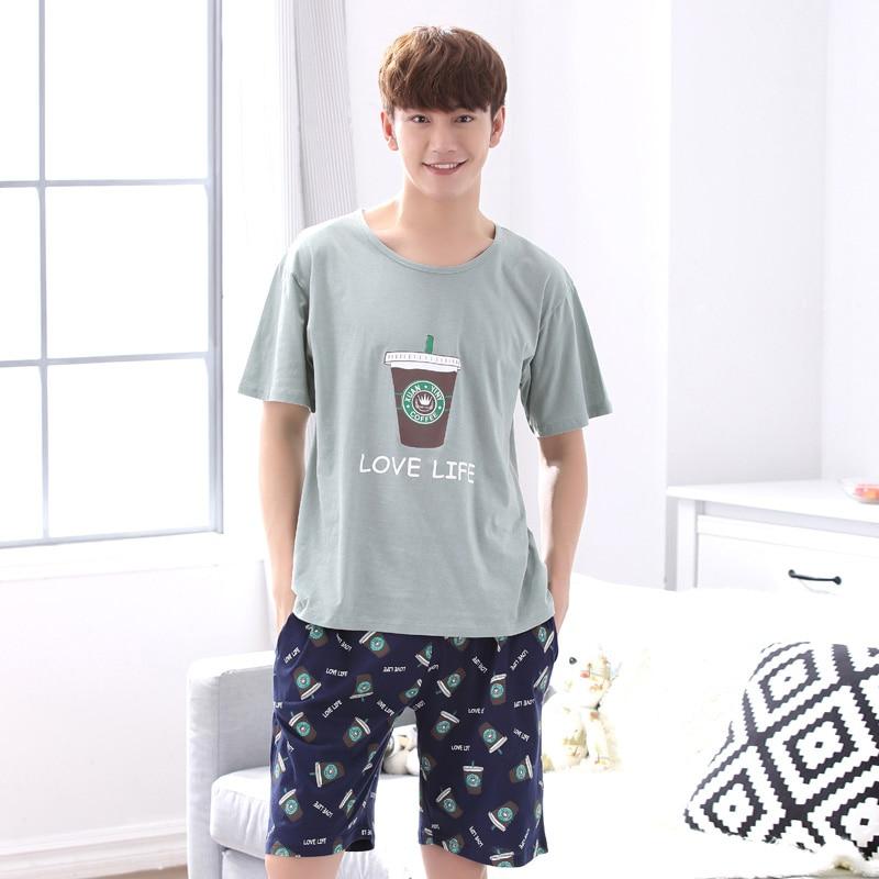 Yidanna Short Sleeved Sleep Clothing Nightwear Men Pajamas Set Casual Nighties Cotton Sleepwear Summer Male Lounge Fashion Suit