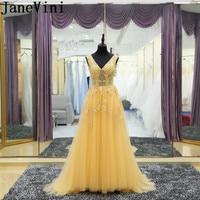 JaneVini Vestidos желтый v образным вырезом Для женщин вечернее платье бисера Кружева Иллюзия крестная мать невесты платья 2018 развертки поезд