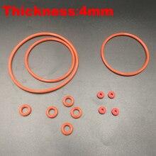 20 штук 40×4 40*4 42×4 42*4 44×4 44*4 (OD * Толщина) 4 мм Толщина Еда Класс красный силиконовые уплотнения масла уплотнительное кольцо