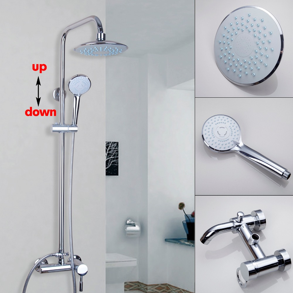 Modern Wall Mounted Chrome Bathroom 8'' Rain Shower Faucet Bathtub Mixer Water Tap free shipping polished chrome finish new wall mounted waterfall bathroom bathtub handheld shower tap mixer faucet yt 5333