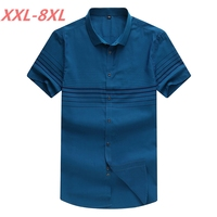Plus Size 8XL 7XL 6XL 5XL 4XL Men Striped Short Sleeve Shirt Casual Shirt The Trend