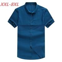 Plus Size 8XL 7XL 6XL 5XL 4XL Men Striped Short Sleeve Shirt Casual Shirt The Trend