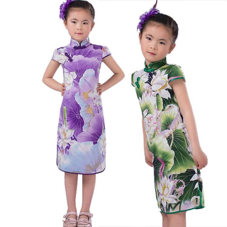bddceec1f9522 Kızlar için 2016 Yaz 3 Renk Çin Cheongsam'lar Geleneksel Çince Elbise için  Çocuk Tang elbise Bebek Kostümleri