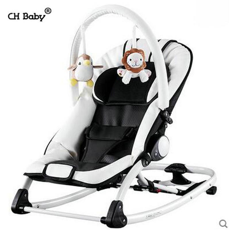CH baby PU Leature fold electric rock chair with music aluminium alloy frame baby cradle appease baby sleep cradle swing 2017 new babyruler portable baby cradle newborn light music rocking chair kid game swing