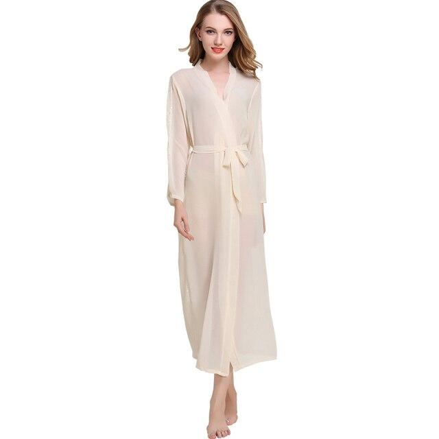 7155b79805 Sexy Clairvoyant chiffon Robe women nightwear robes lace temptation female Long  bathrobes robe Luxury Lace Sleeprobes