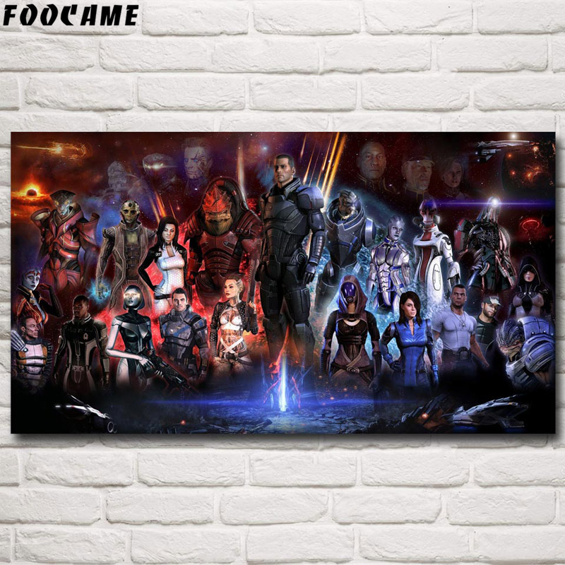 FOOCAME Mass Effect 2 3 4 Hot Shooting Action Game Poster Silk Home Art Prints Live Paintings Wall Decor Decorative Pictures(China)
