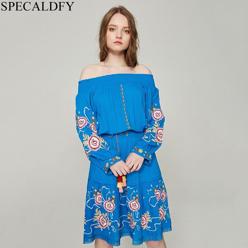 2019 printemps rétro Boho bohème Robe femmes coton à manches longues gland Floral broderie Robe d'été grande taille Robe Femme