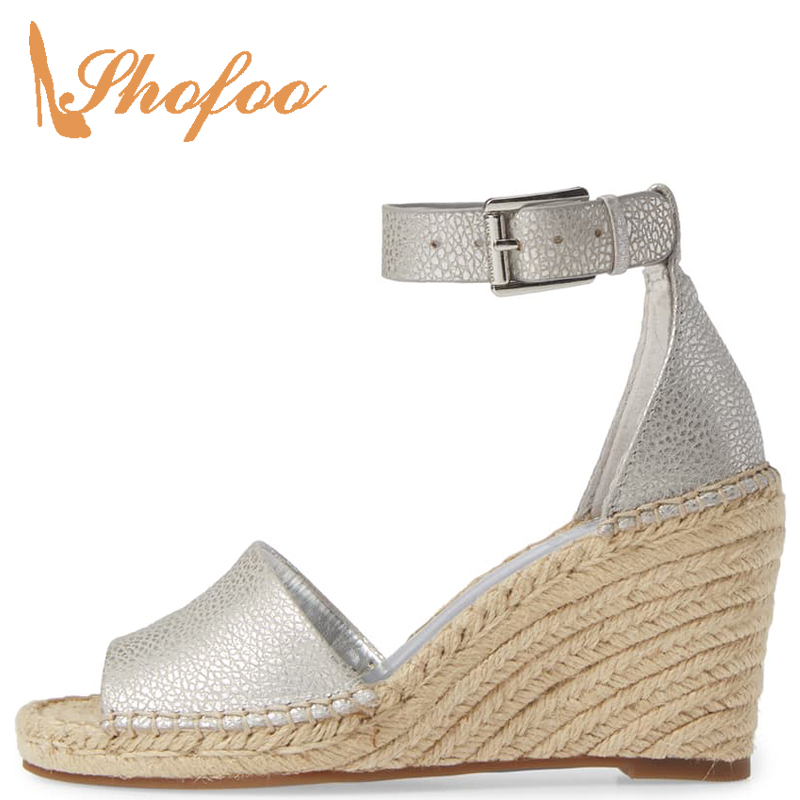 Espadrilles Platform Casual-Shoes High-Wedges Heels-Buckle Ankle-Strap Sandals Woman