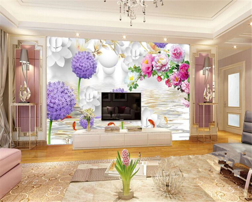 beibehang Peony papel de parede 3d wallpaper Fashion Classic Chinese TV Dandelion Backdrop for home decoration indoor wallpaper in Wallpapers from Home Improvement