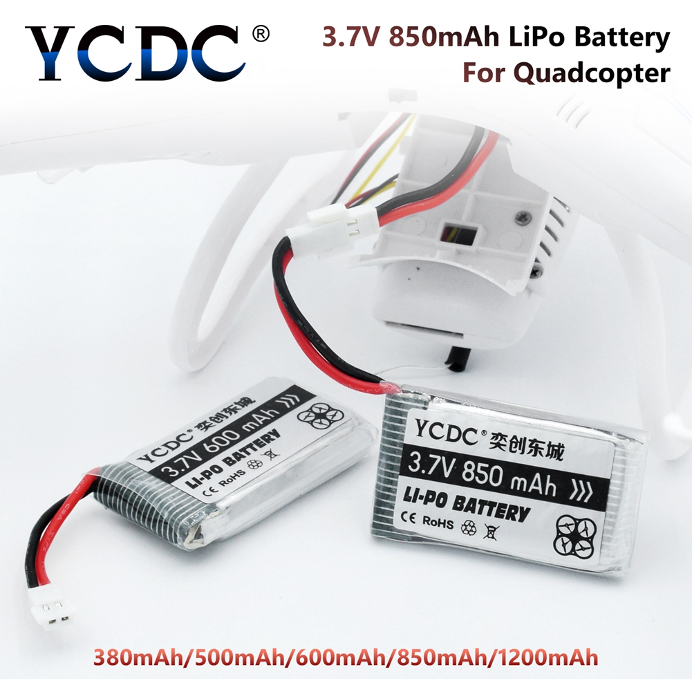 Drone Li-Po Battery 3.7V 380 / 500 / 600 / 850 / 1200 MAh For Hubsan Rechargeable Batteries For Camera Quadcopter Toy Plane