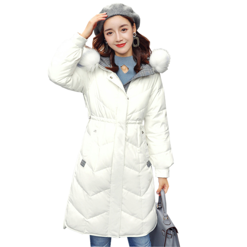 Fashion Raccoon Fox Fur Collar   Down   Jackets Winter Middle Long White Duck   Down     Coats   Outwear Female Slim Casual   Down   ParkaYP2126