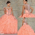 2017 New Elegant Ball Gown Prom Dresses Sweetheart Floor Length Crystals Ruffles Cascading Organza Hot Pink Quinceanera Dresses