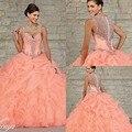 2017 Nova Elegante vestido de Baile Vestidos de Baile Querida Pavimento Length Cristais Ruffles Em Cascata de Organza Rosa Quente Quinceanera Dresses
