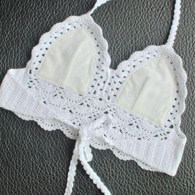Tienda Online Mujeres Bralette Halter cuello Crop Top Crochet Cami ...