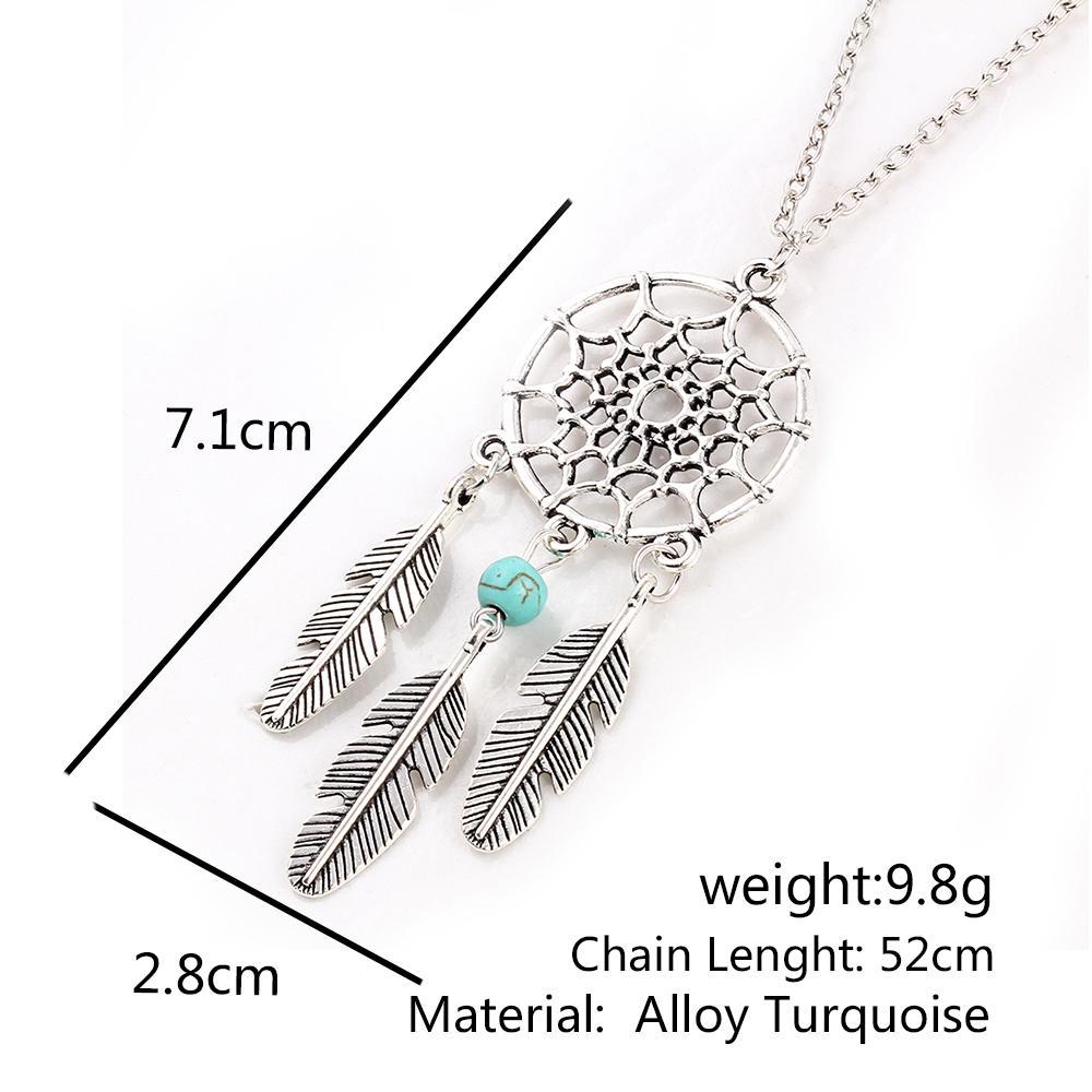 Antique Silver Vintage Dream Catcher Leaves Pendant Necklace*