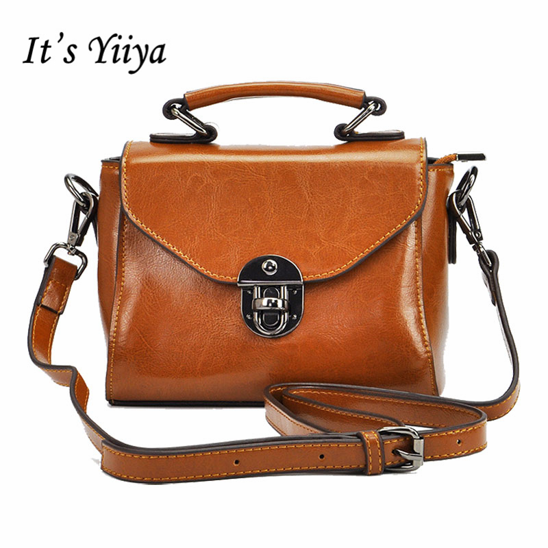 It's YiiYa New Brown Black Women Genuine Leather HandBag Vintage Fashion Casual Girls Messenger Bags With Solid Bag SS916