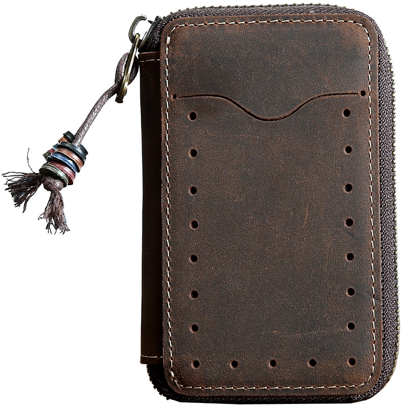 Vintage Real Genuine Leather Key Wallet Women Chain Covers Zipper S Case Bag Men Holder Housekeeper Organizer