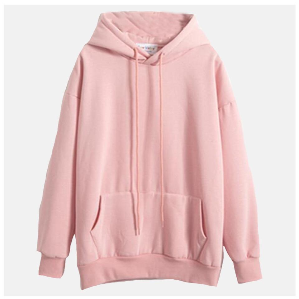 Plain Hooded Sweatshirt Cute Pink Kawaii Poleron Mujer 2019 Winter Solid Kangaroo Pocket Hoodie Navy Light Blue Hoodie Women