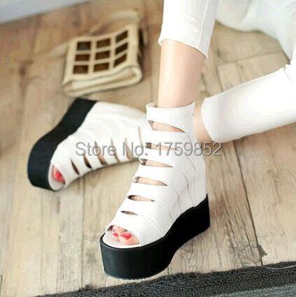 Petit yards 32 33 crème Glacée-semelle chaussures décontracté plate-forme à bout ouvert sandales à glissière arrière découpe trou chaussures grande taille 42