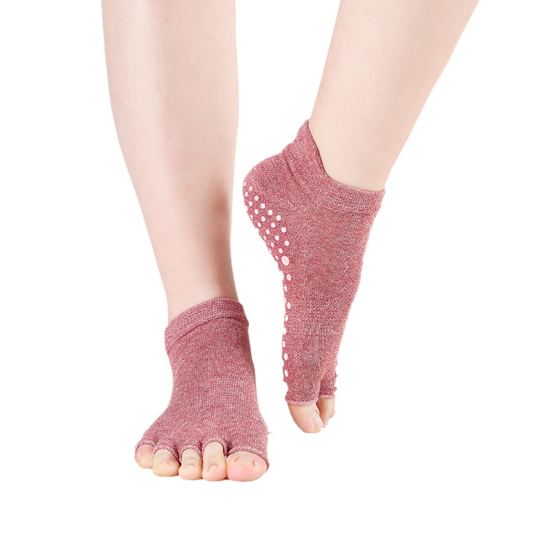 1 Pair Half Toe Yoga Socks Toe Anti-Slip Breathable Pilates Ankle Half Five Fingers Deodorant Cotton for Yoga Dancing Ballet