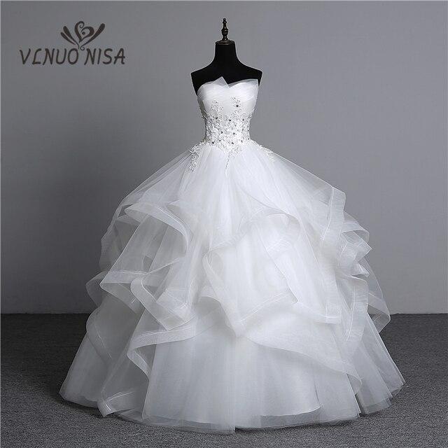 100% תמונה אמיתית אפליקציות חתונה הלבנה שמלות 2018 Vestidos דה Noivas פניני וינטג 'בתוספת גודל סטרפלס שמלות נשף כלה