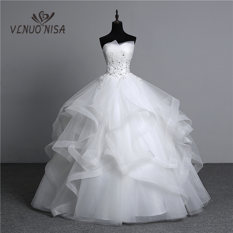 Ball-Gowns Wedding-Dresses Pearls Appliques Strapless Bridal White Vintage Plus-Size title=