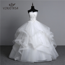Ball-Gowns Wedding-Dresses Pearls Appliques Strapless Vestidos-De-Noivas Bridal White