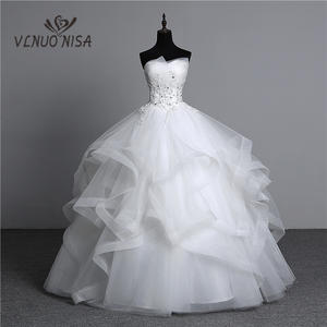 Ball-Gowns Wedding-Dresses Appliques Strapless Bridal White Vintage Plus-Size Photo Pearls