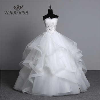 100% real photo Appliques pearls Vintage White Wedding Dresses 2018 Vestidos de Noivas Plus Size Strapless Bridal Ball Gowns - DISCOUNT ITEM  25% OFF Weddings & Events