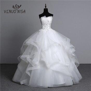 Fashion Classic Real Photo Appliques Vintage White Pearls Wedding Dresses 2021 Vestidos De Noiva Bridal Gown Plus Size Strapless - discount item  25% OFF Wedding Dresses