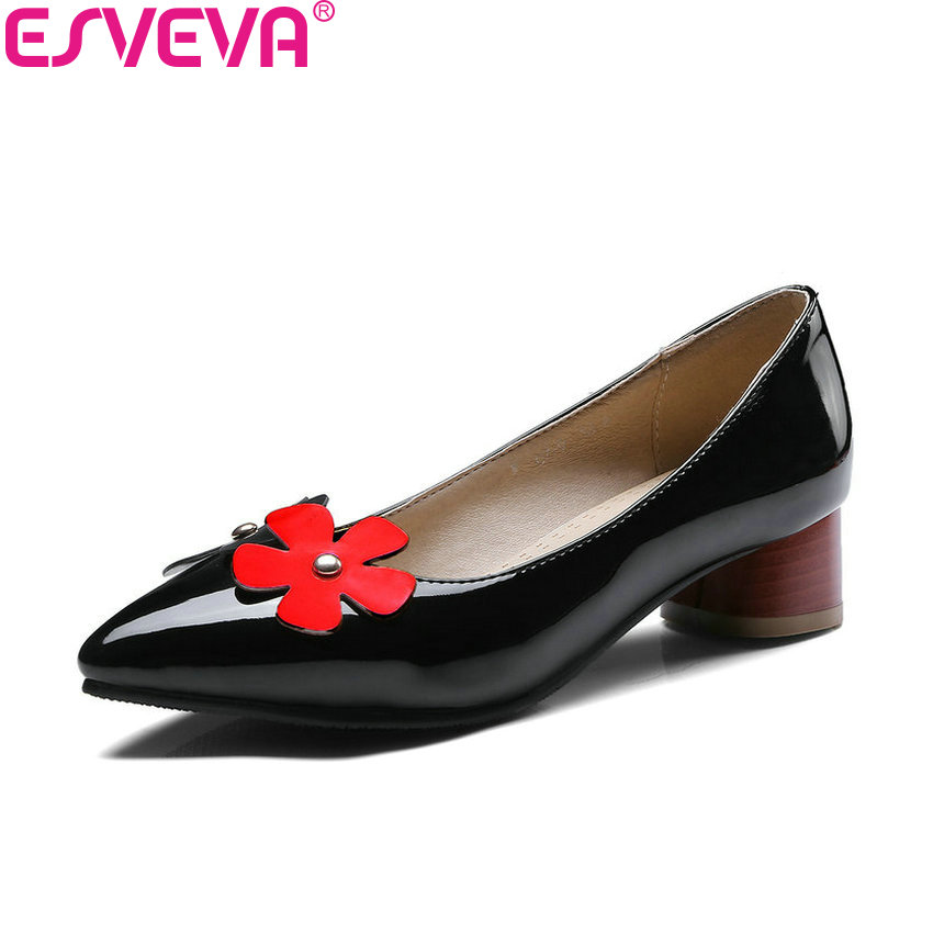 ESVEVA 2018 Women Pumps Slip on Patent Leather PU Med Heels Flower Pointed Toe Square Heels Pumps Shoes for Women Size 34-43 2017 shoes women med heels tassel slip on women pumps solid round toe high quality loafers preppy style lady casual shoes 17