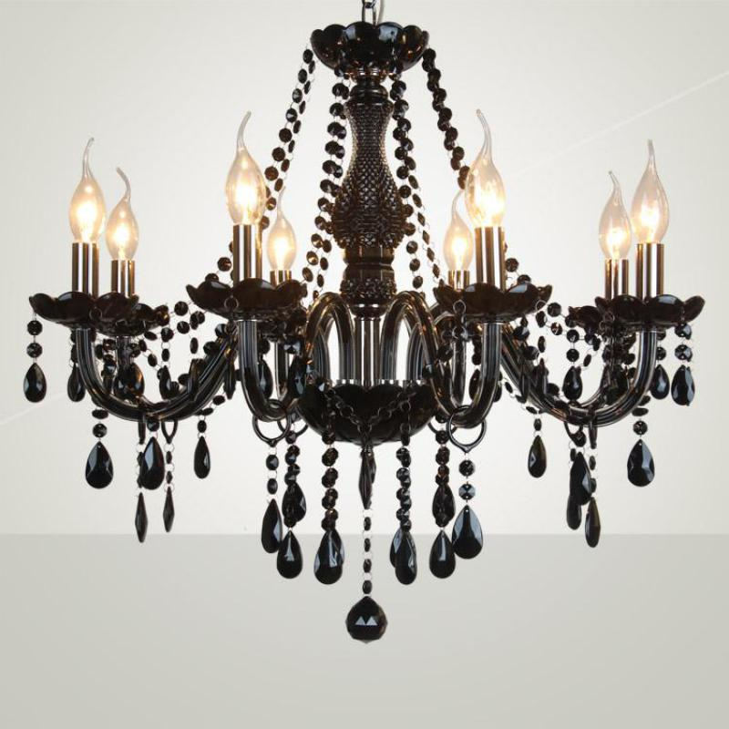 showcase hallway black Chandelier Led chrome Candle Lighting Hotel fixtures lampe Bedroom Dining Room Modern glass chandeliers modern crystal chandelier led hanging lighting european style glass chandeliers light for living dining room restaurant decor