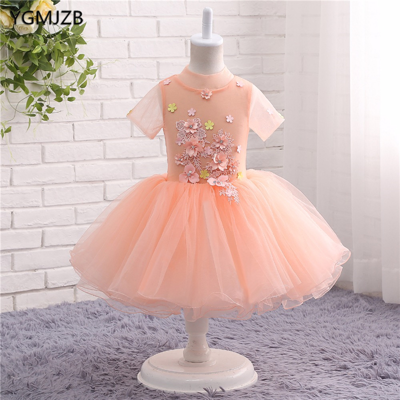 Pink   Flower     Girl     Dresses   for Wedding High Neck with Short Sleeves Pageant Ball Gown First Communion   Dresses   Prom   Dress   Kids