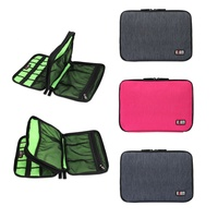 Factory Price Large Double Layer Cable Organizer Bag Carry Case Can Put HDD USB Flash Drive