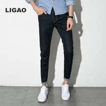 LIGAO 2017 Men's Jeans Pencil Pants Full Length Soft Elastic Pant Men Casual Trousers Black Color Plus Size Summer Autumn