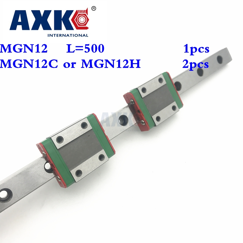 Axk Linear Rail 12mm Linear Guide Mgn12 L 500mm Rail With 2pcs Mgn12c Or Mgn12h Carriages Block For Cnc Diy And 3d Printer Xyz