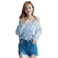 c08d977c4b377 ROPALIA Women Sexy Off Shoulder Shirt Summer Long Sleeve T-Shirt Blue White  Striped Print