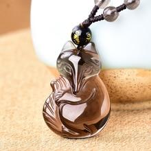 Ожерелье с кулоном из натурального ледяного обсидиана, оригинальные украшения в виде лисы для женщин и мужчин, подвеска с бусинами, цепочка с подвеской в виде Лаки, персика, пара кулонов
