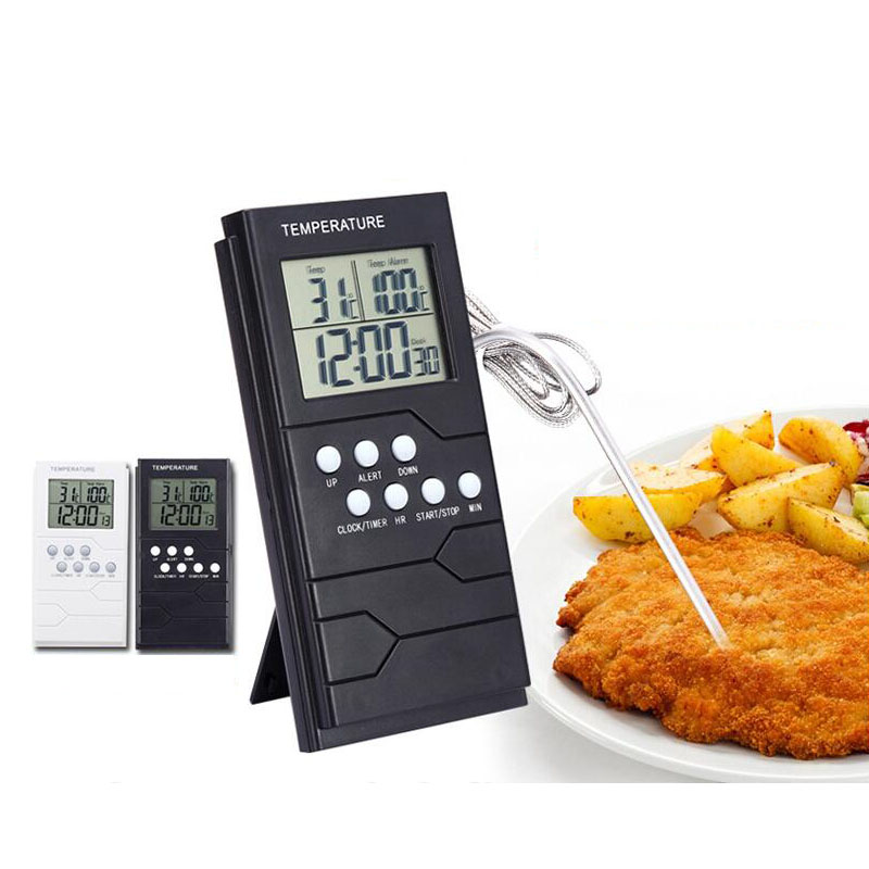 Digital Kitchen Cooking Thermometer Single Probe Food Meat Liquid Thermometer With Timer / Temperature Alarm Barbecue
