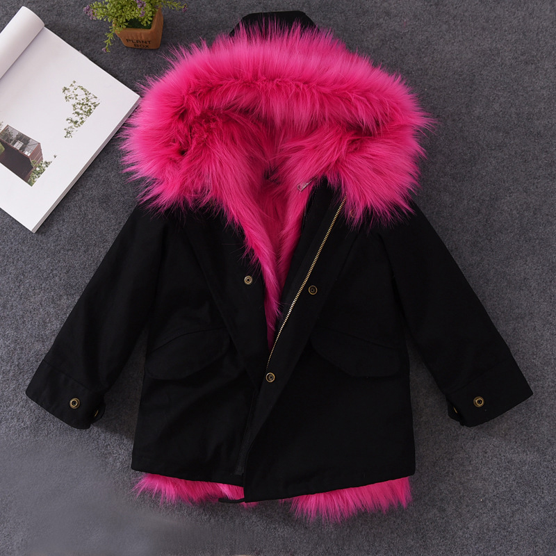 2017 Girls Fur Coat Parkas Winter Big Fur Collar Kids Jackets Coats Removable Fox Fur Liner Children Thick Warm Hooded Outerwear 5 colors 2017 new long fur coat parka winter jacket women corduroy big real raccoon fur collar warm natural fox fur liner