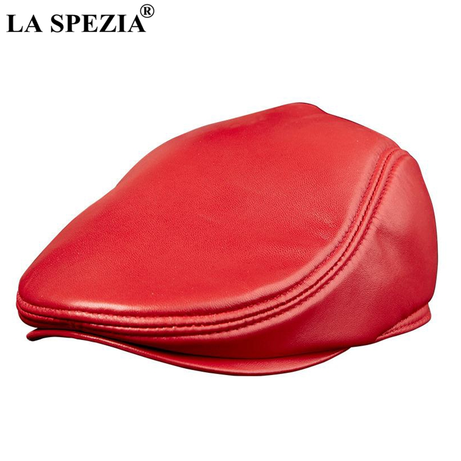 LA SPEZIA Ladies Beret Hats Red Leather Flat Caps Genuine Sheepskin Leather Fitted Duckbill Hats Women Autumn Winter Cabbie Cap