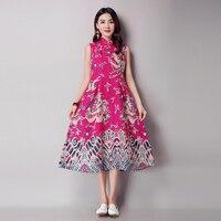 Hot Sale Womens Summer Lace Dress Chinese Dragon Totem National Style Printed Dress 2018 Fashion Women