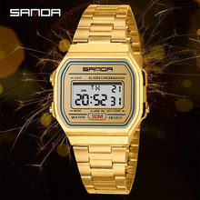 Top brand SANDA 2019 new watches men and women student electronic watch digital gold waterproof steel strap square wristwatches