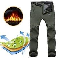 Men Winter Warm Cargo Pants Thermal Fleece Military Pants Mens Army Green Trousers Waterproof Windproof Cotton