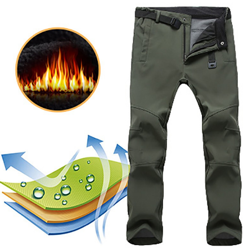 Winter Men Cargo Pants Elastic Waist Travel Softshell Trousers Waterproof Windproof Thermal Men's Female Warm Outdoor Trousers