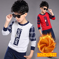 Boys Tees Thicken Patchwork Sweaters Plus Velvet T-Shirts For Boys Bottoming Shirts 4 6 8 10 12 Years Autumn Winter Kids Tops