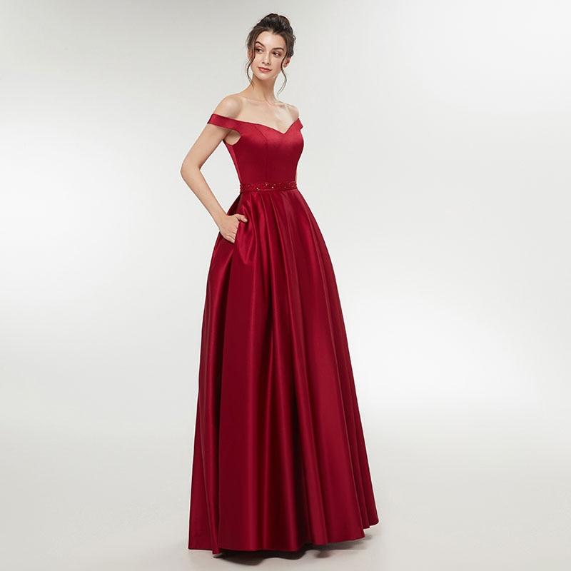 Elegant 2018 Enkel Vin Rød Aften Kjole Damer Formel Lange Kvinder - Særlige occasion kjoler - Foto 2
